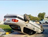 إصابة 4 أشخاص فى حادث انقلاب سيارة ملاكى بصحراوى البحيرة