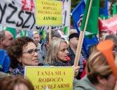 صور .. نقابات العمال تتظاهر فى بولندا لرفع الأجور