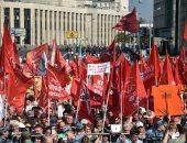صور.. 3 آلاف متظاهر يحتجون فى موسكو على مشروع رفع سن التقاعد
