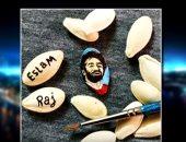 """شاهد.. فنان يستعرض أصغر بورتريه لمحمد صلاح على """"اللب"""""""