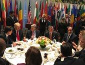 السيسي والعاهل الأردنى وترامب على مأدبة غداء سكرتير عام الأمم المتحدة
