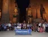 صور.. مصر للطيران تستضيف ممثلى شركات السياحة البلجيكية بحفل معبد الأقصر