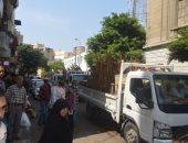 أمن الإسكندرية يشن حملة إشغالات مكبرة بمحرم بك والعطارين