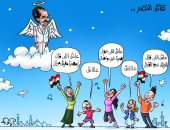 المصريون ينشدون أغنية قائد النصر للزعيم الراحل السادات فى كاريكاتير اليوم السابع