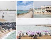 لموا الشماسى.. شواطئ الإسكندرية تودع المصيفين وتستعد للشتاء