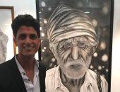 """صور.. """"إبراهيم العرابى"""" موهبة فنية من كفر الشيخ أتقن الفن التشكيلى"""