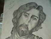طالب يشارك بلوحات فنية تبرز موهبته فى الرسم بالفحم والرصاص