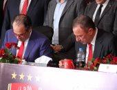 شاهد.. مراسم توقيع عقود رعاية بريزنتيشن للأهلى بحضور محمد كامل والخطيب