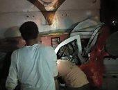 اصطدام قطار بسيارة نصف نقل بمزلقان أبو المعاطى بقليوب دون خسائر بشرية
