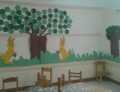 صور.. إغلاق فصل رياض أطفال فى مدرسة بدمنهور أسبوعا لانهيار السقف