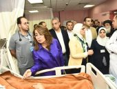 فيديو وصور.. وزيرة التضامن: حادث المنيا سيزيدنا إصرارا و تماسكا