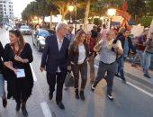 فيديو.. ليلى علوى تتحدى الإرهاب فى شارع الحبيب بورقيبة عقب عرض فيلم المصير