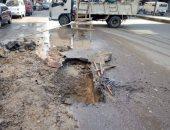 توقف حركة المرور بسبب كسر بماسورة مياه بمنطقة الساحل