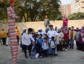 صور ..شرطة خيالة مديرية أمن القاهرة تستقبل طلاب مدرسة وأخرى لذوى الإعاقة