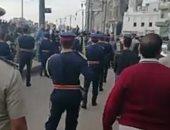 تشييع جنازة ضابط شرطة فى جنازة عسكرية بدمياط