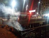 صور.. السيطرة على حريق أسفل كوبرى السجل المدنى بشبين القناطر