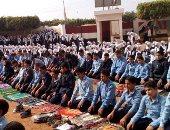 """بصلاة الجماعة فى الفناء"""".. هكذا احتفل طلاب مدرسة """"سنهرة"""" بذكرى المولد النبوى.. صور"""