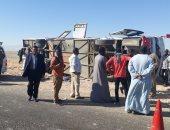 أول صور لحادث إنقلاب أتوبيس رحلات وإصابة 31 شخصا بطريق المحاميد بالأقصر