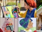 """بالريشة والألوان .. """"سلمى"""" تركت منصبها بعد 7 سنوات من أجل الفن والذكريات.. صور"""
