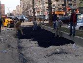 بدء أعمال تطوير ورصف طريق جمال عبد الناصر في 6 أكتوبر