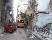 صور.. انهيار جزئى بعقار بحى الجمرك غرب الاسكندرية