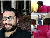 """""""قاهر البقع"""".. """"عمرو""""  فاته التعيين فقرر يساعد ستات البيوت فى تنظيف المفروشات"""