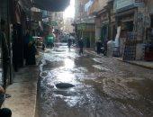 صور.. غرق شوارع زفتى بسبب كسر ماسورة بوسط المدينة