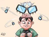"""ذباب السوشيال ميديا يقتحم عقول النشطاء بكاريكاتير """" اليوم السابع"""""""