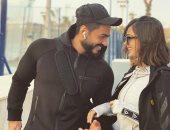 وصلة مزاح بين تامر حسنى و زوجته بسمة بوسيل بسبب الجيم