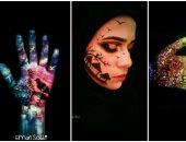 بالسفنجة والألوان بدأت رحلتها.. إيمان ملتزمتش بالورق ورسمت على جسمها