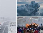 """صور.. العالم هذا الصباح.. تواصل الانفجارات فى بركان """"كراكاتاو"""" بإندونيسيا.. الآلاف يتظاهرون فى منغوليا متحدين البرد احتجاجا على الفساد.. مصرع 3 أشخاص فى الولايات المتحدة بسبب ثلوج العاصفة """"إيبونى"""""""