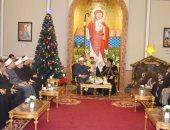 شيخ الأزهر ووزير الأوقاف والمفتى يزورون البابا تواضروس للتهنئة بالعام الجديد
