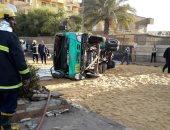انقلاب سيارة نقل مواد بترولية بمدخل سبرباى بطنطا