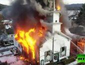 شاهد.. حريق ضخم فى كنيسة أثرية بنيويورك