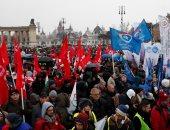 صور.. متظاهرون فى المجر ينظمون مسيرة فى بودابست احتجاجًا على قانون العبيد