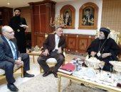 محافظ القليوبية ومدير الأمن ونقيب الصحفيين يقدمون التهنئة للأقباط بمطرانية شبرا