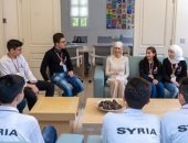 أسماء الأسد تستقبل الطلاب السوريين الفائزين فى الأولمبياد العلمى السورى..صور