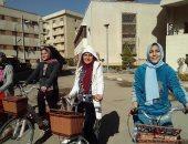 لأول مرة.. انطلاق سباق دراجات لطالبات جامعة القاهرة (صور)