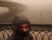 قارىء يشارك بصورة للجو من أمام ماسبيرو : انا و العاصفة الساعة 3 الظهر