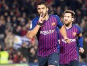سواريز خامس هدافى برشلونة التاريخيين بـ167 هدفا.. فيديو