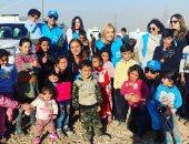 تحدى نيللى كريم الجديد.. دعم أطفال سوريا اللاجئين ضد برودة الشتاء