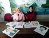 """صور.. طالبتان تحتفلان بتسجيل محمد صلاح الهدف 50 ومبادرة """"حياة كريمة"""" برسومات جميلة"""