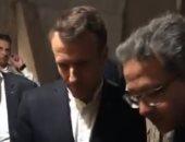 شاهد.. أول فيديو للرئيس الفرنسى ماكرون داخل معبد أبو سمبل