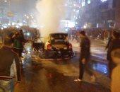 صور .. احتراق سيارة أجرة بشارع 15 مايو بشبرا الخيمة