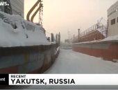 شاهد.. سفن محتجزة وسط بحار روسيا بسبب الجليد
