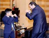 فيديو وصور.. سعد الحريرى يستقبل الطفل بطل العالم فى الكيك بوكسينج