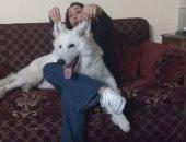 """كاميليا تشارك بصور كلبها """"مسك"""" وتؤكد: """"بيساعدنى على المذاكرة"""""""
