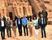 رانيا المشاط و4 وزراء يشهدون فعالية تعامد الشمس على وجه رمسيس الثانى