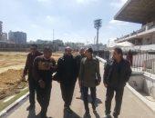 """صور.. عامر حسين يتابع عملية تجديد ملعب """"الأولمبى"""" قبل أمم أفريقيا"""