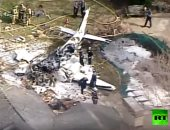 شاهد.. سقوط طائرة على أحد المنازل بولاية أوهايو الأمريكية